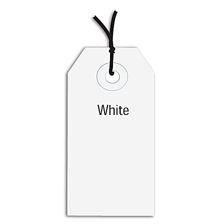 """Office Depot® Brand Prestrung Color Shipping Tags, #1, 2 3/4"""" x 1 3/8"""", White, Box Of 1,000"""