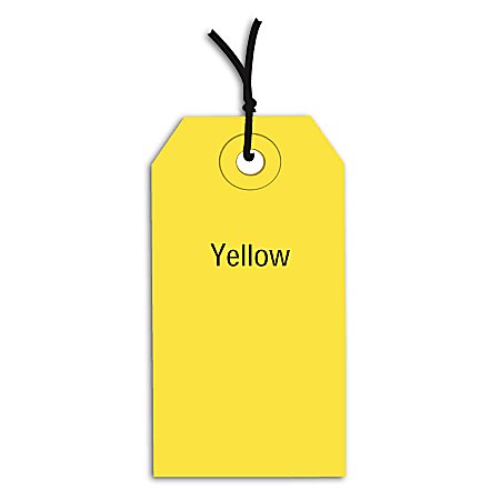 """Office Depot® Brand Prestrung Color Shipping Tags, #4, 4 1/4"""" x 2 1/8"""", Yellow, Box Of 1,000"""