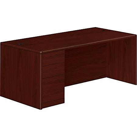 """HON® 10700 """"U""""-Shaped Workstation Single-Pedestal Desk, Pedestal On Left, Mahogany"""