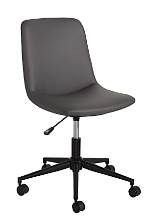 Realspace® Praxley Faux Leather Low-Back Task Chair, Dark Gray