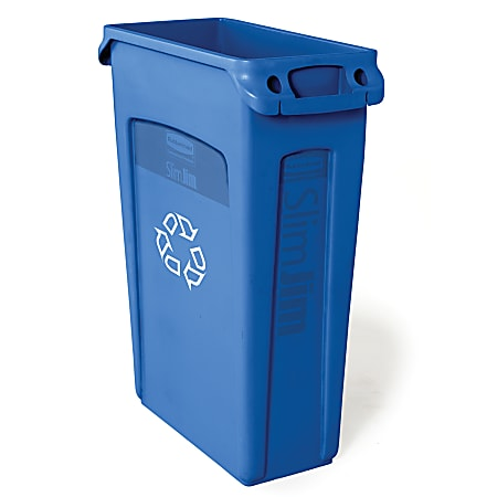 Rubbermaid® Commercial Slim Jim® Recycle Waste Container, 23-Gallons, Blue
