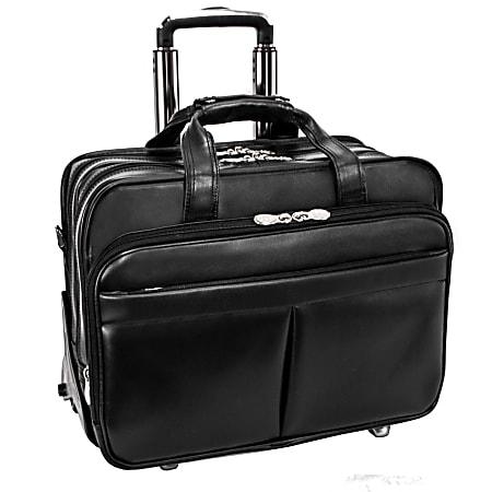 McKlein Roosevelt Detachable-Wheeled Leather Laptop Case, Black