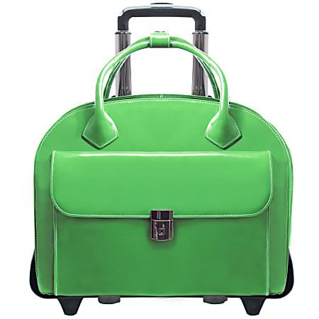 McKlein Glen Ellyn Italian Leather Briefcase With Front Key Lock, Green