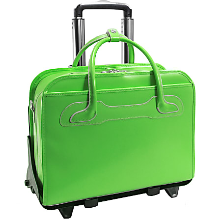 McKlein Willow Brook Leather Detachable-Wheeled Briefcase, Green