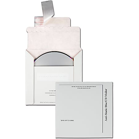 """Quality Park Tyvek-Lined Disk/CD Mailers - Disc/Diskette - 5 1/8"""" Width x 5"""" Length - Self-sealing - Paperboard - 25 / Box - White"""