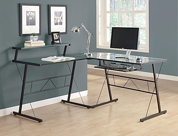 Monarch Specialties L-Shaped Glass Computer Desk, Clear/Black