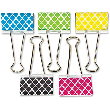 "Teacher Created Resources Moroccan Design Binder Clips - Large - 1"" Length x 2"" Width - for Classroom, Office - Write-on, Wipe-off - 5 / Pack - Multi - Metal"
