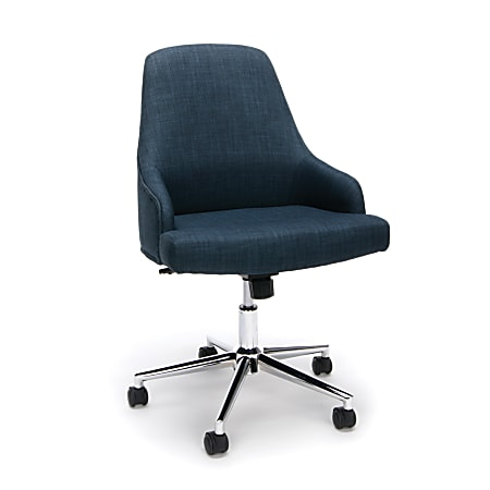 Essentials By OFM Upholstered High-Back Chair, Fabric, Blue/Chrome