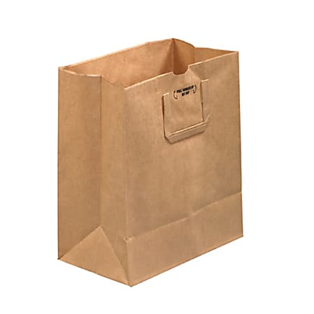 """Partners Brand Flat Handle Grocery Bags, 14""""H x 12""""W x 7""""D, Kraft, Case Of 300"""