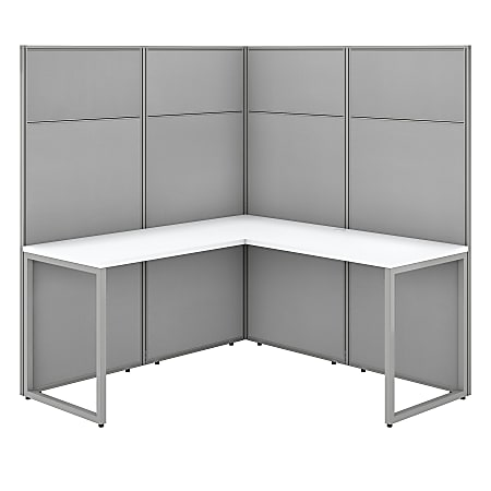 "Bush Business Furniture Easy Office 60""W L-Shaped Cubicle Desk Workstation With 66""H Panels, Pure White/Silver Gray, Standard Delivery"