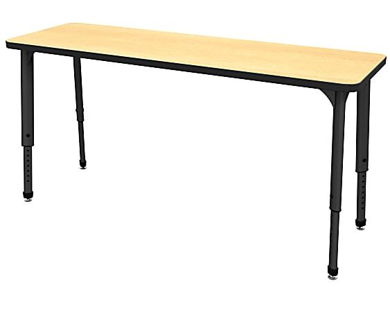 "Marco Group Apex™ Series Adjustable Rectangle Student Desk, 20"" x 60"", Fusion Maple/Black"