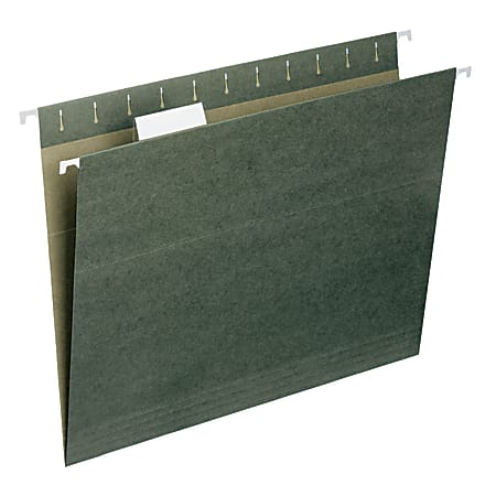 Smead® Hanging File Folders, Letter Size, 100% Recycled, Standard Green, Box Of 25