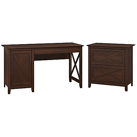 """Bush Furniture Key West 54""""W Computer Desk With Storage And 2 Drawer Lateral File Cabinet, Bing Cherry, Standard Delivery"""