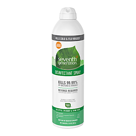 Seventh Generation Disinfectant Cleaner - Spray - 13.9 fl oz (0.4 quart) - Eucalyptus Spearmint & Thyme Scent - 1 Each - Clear