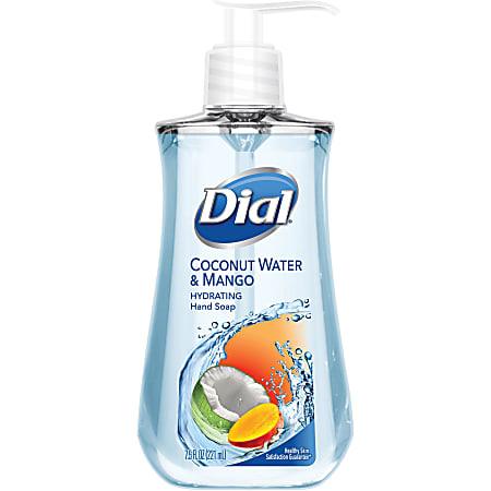 Dial Coconut Water/Mango Hand Soap Pump - Coconut Water & Mango Scent - 7.5 fl oz (221.8 mL) - Pump Bottle Dispenser - Kill Germs - Hand, Skin - Clear - Residue-free - 12 / Carton