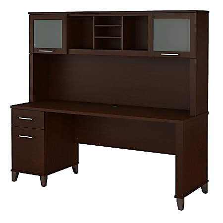 """Bush Furniture Somerset Office Desk With Hutch, 72""""W, Mocha Cherry, Standard Delivery"""