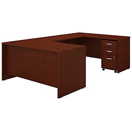 """Bush Business Furniture Components 60""""W U-Shaped Desk With 3-Drawer Mobile File Cabinet, Mahogany, Standard Delivery"""