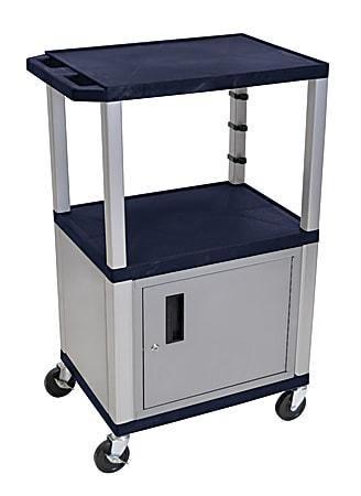 "H. Wilson Plastic Utility Cart With Locking Cabinet, 42 1/2""H x 24""W x 18""D, Topaz Blue/Nickel"
