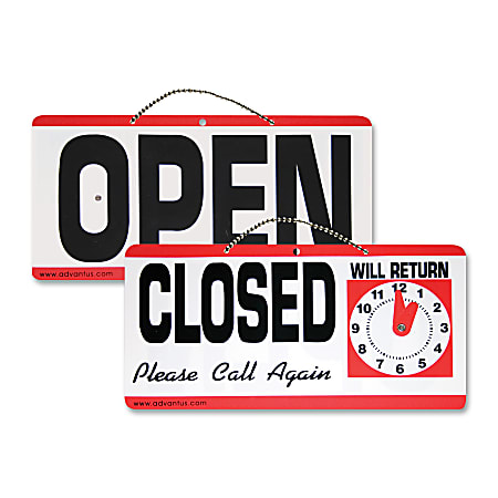 """Advantus """"Open/Closed"""" Sign With Clock, 6"""" x 11 1/2"""""""