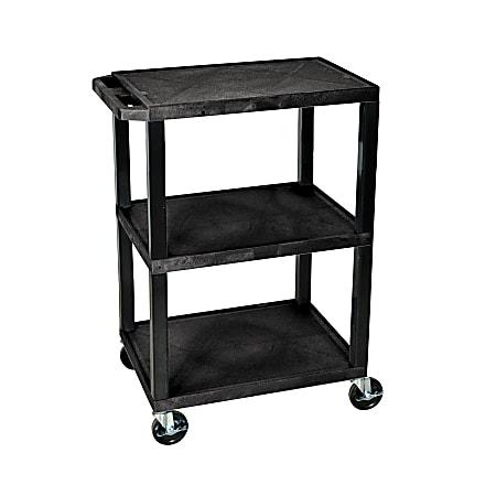 "H. Wilson 3-Shelf Plastic Specialty Utility Cart, 34""H x 24""W x 18""D, Black Shelves/Black Legs"