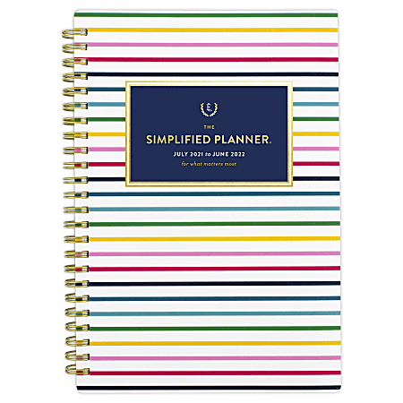 """AT-A-GLANCE® Simplified By Emily Ley Academic Weekly/Monthly Planner, 8-1/2"""" x 5-1/2"""", Thin Happy Stripe, July 2021 To June 2022, EL60-200A"""
