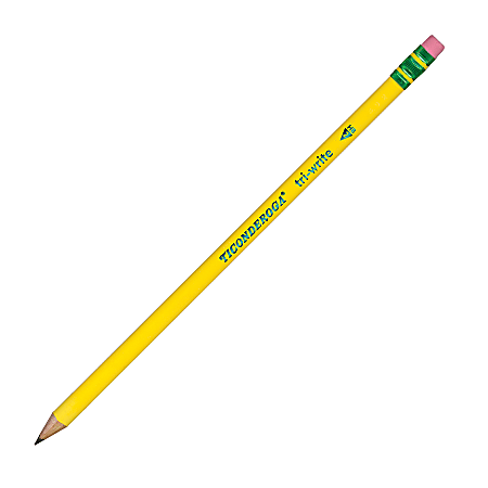 Ticonderoga® Tri-Write Pencils, With Erasers, #2 Lead, Yellow, Pack Of 12