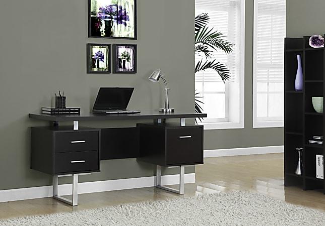 Monarch Specialties Retro-Style Computer Desk, Cappuccino