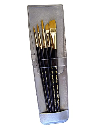 Princeton Real Value Series 9000 Brush Set, 9139, Assorted Bristles, Synthetic, Set Of 5, Blue