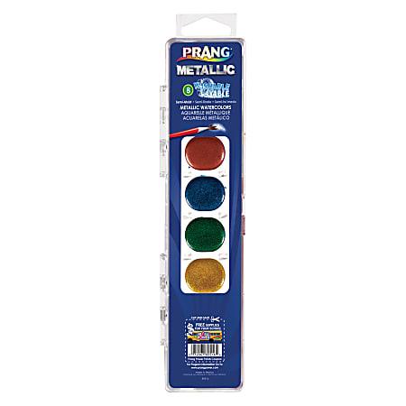 Prang® Washable Watercolor Set with Brush, Semi-Moist Metallic, Set Of 8 Colors