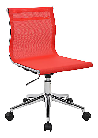 LumiSource Mirage Fabric Industrial Office Chair, Red/Chrome