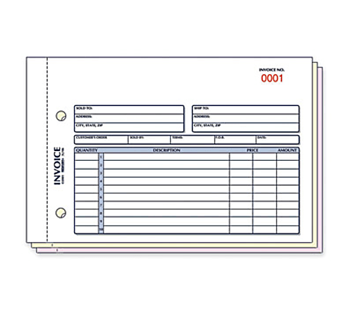 "Rediform Carbonless Invoices - 50 Sheet(s) - 3 PartCarbonless Copy - 7 7/8"" x 5 1/2"" Sheet Size - 2 Columns per Sheet - Assorted Sheet(s) - Blue, Red Print Color - 1 / Each"