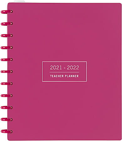TUL® Discbound Monthly Teacher Planner, Letter Size, Pink, July 2021 To June 2022