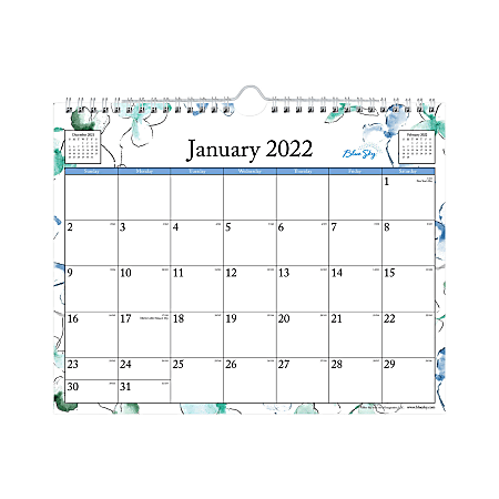 """Blue Sky™ Monthly Safety Wirebound Wall Calendar, 11"""" x 8-3/4"""", Lindley, January To December 2022, 101593"""