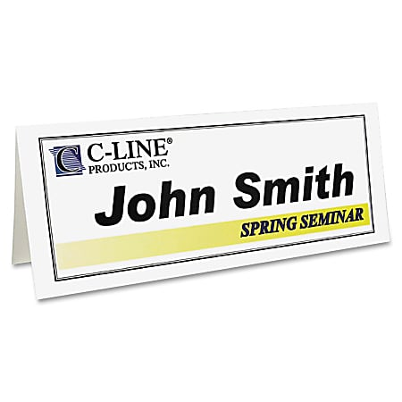 "C-Line® Inkjet/Laser Name Tents, 8 1/2"" x 11"", White, Box Of 50"