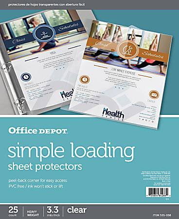 """Office Depot® Brand Simple-Loading Sheet Protectors, 8-1/2"""" x 11"""", Clear, Pack of 25"""