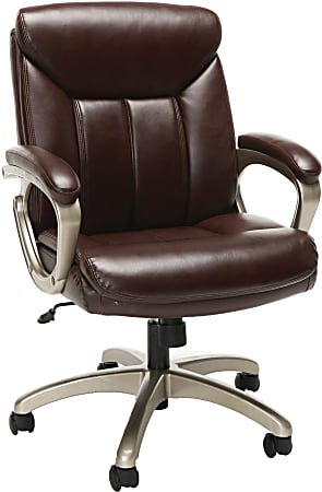 Essentials By OFM Ergonomic Bonded Leather Mid-Back Chair, Brown/Black