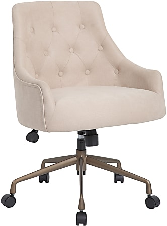 Boss Office Products Ergonomic Fabric High-Back Task Chair, Beige/Rustic Bronze