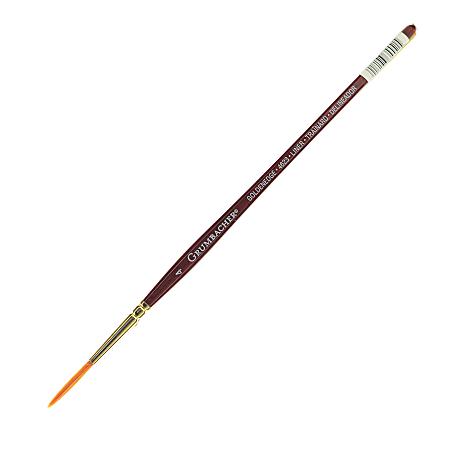Grumbacher Goldenedge Watercolor Paint Brush, Size 4, Liner Bristle, Sable Hair, Brown