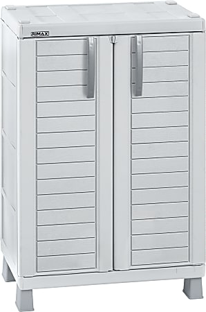 """Inval 40""""H Storage Cabinet With Adjustable Shelves, Light Gray"""