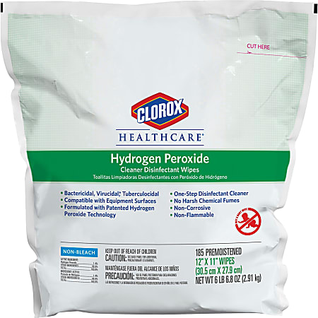 """Clorox® Healthcare® Hydrogen Peroxide Disinfecting Wipes, 12"""" x 11"""", Pack Of 185"""