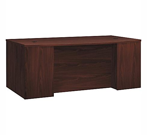 HON® Foundation Laminate Breakfront Desk Shell With Bowfront, Mahogany