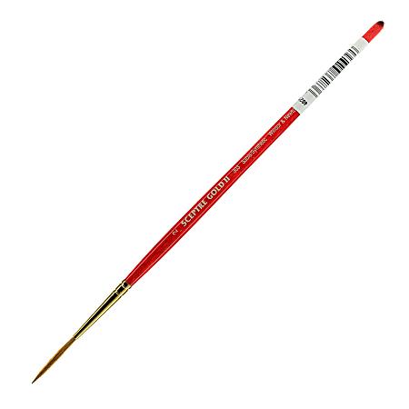 Winsor & Newton Sceptre Gold II Short-Handle Paint Brush 303, Size 2, Lettering Bristle, Sable Hair, Terracotta