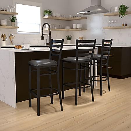 Flash Furniture HERCULES Ladder Back Restaurant Bar Stool, Black