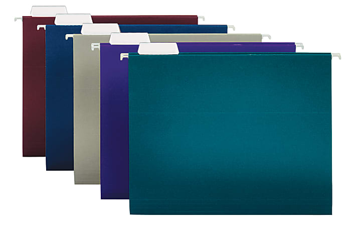 """Office Depot® Brand 2-Tone Hanging File Folders, 1/5 Cut, 8 1/2"""" x 11"""", Letter Size, Assorted Colors, Box Of 25 Folders"""