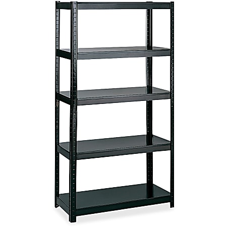 """Safco Boltless Steel Shelving Storage Unit/Wrkbnch - 5 Compartment(s) - 72"""" Height x 36"""" Width x 24"""" Depth - Floor - Black - Steel - 1Each"""