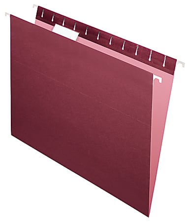 """Office Depot® Brand 2-Tone Hanging File Folders, 1/5 Cut, 8 1/2"""" x 11"""", Letter Size, Maroon, Box Of 25 Folders"""