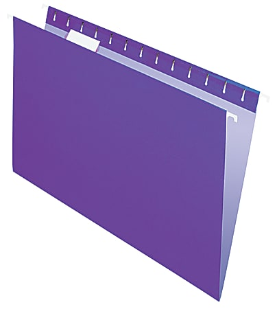 "Office Depot® Brand 2-Tone Hanging File Folders, 1/5 Cut, 8 1/2"" x 14"", Legal Size, Purple, Box Of 25 Folders"