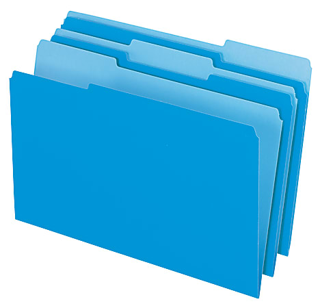 Office Depot® Brand 2-Tone File Folders, 1/3 Cut, Legal Size, Blue, Pack Of 100