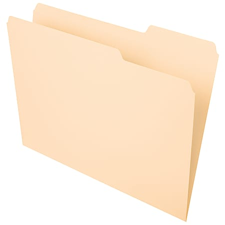 Office Depot® Brand File Folders, 1/3 Tab Cut, Right Position, Letter Size, Manila, Pack Of 100