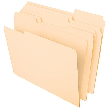 Office Depot® Brand File Folders, 1/3 Tab Cut, Assorted Position, Letter Size, Manila, Pack Of 100 Folders